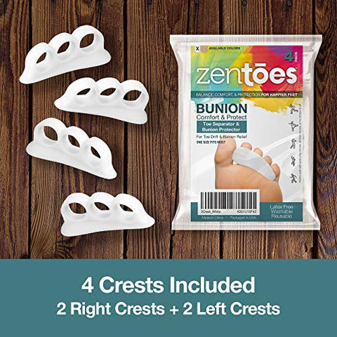 ZenToes Hammer Toe Straightener and Corrector 4 Pack Soft Gel Crests Splints | Reduce Foot Pain, Prevent Overlap | Flexible Footcare Treatment | Stain, Odor Resistant (White)