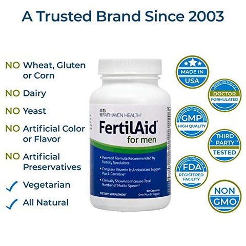 FertilAid for Men: Male Fertility Supplement for Sperm Count, Motility, and Morphology