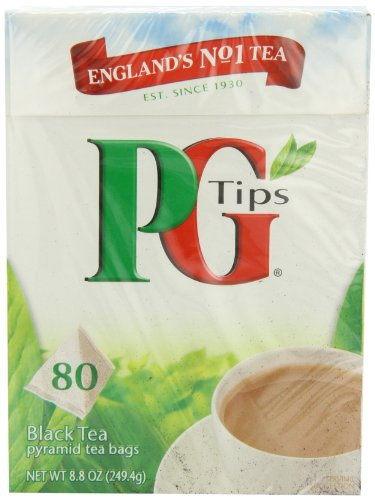PG Tips Black Tea, Pyramid Tea Bags, 80Count Boxes (Pack of 4)