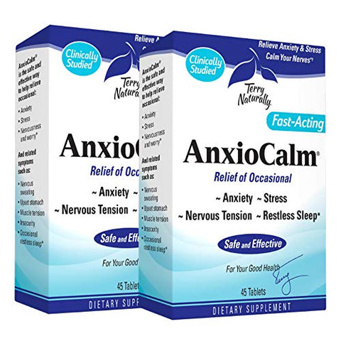Terry Naturally AnxioCalm (2 Pack) - 40 mg, 45 Tablets - Non-Addictive Anxiety & Stress Relief Supplement, Non-Drowsy, Worry, Restless Sleep - Non-GMO, Gluten-Free - 90 Total Servings