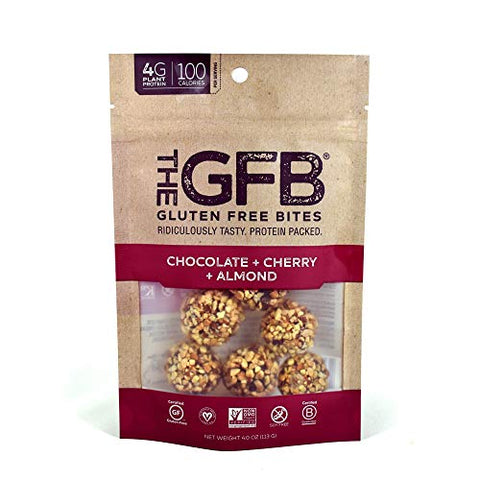 The GFB Gluten Free Protein Bites, Chocolate Cherry Almond, 4 Ounce (6 Count), Vegan, Dairy Free, Non GMO, Soy Free