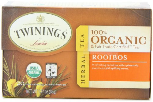 Twinings of London Organic and Fair Trade Certified Rooibos Herbal Tea Bags, 20 Count