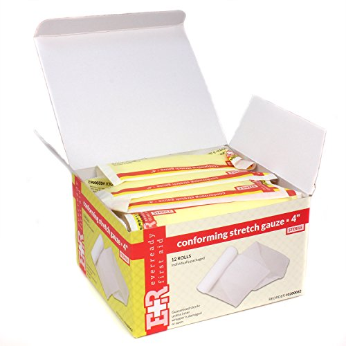 Ever Ready First Aid Sterile Conforming Gauze Roll Bandage - Box of 12-4 inch