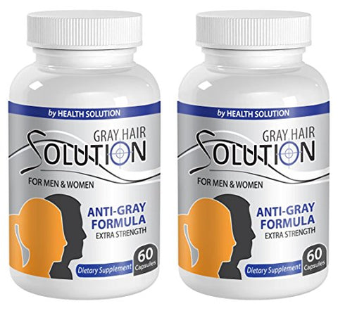 Catalase Anti Gray - Gray Hair Solution for Men and Women - Anti Gray Hair Supplements Vitamins (2 Bottles 120 Capsules)