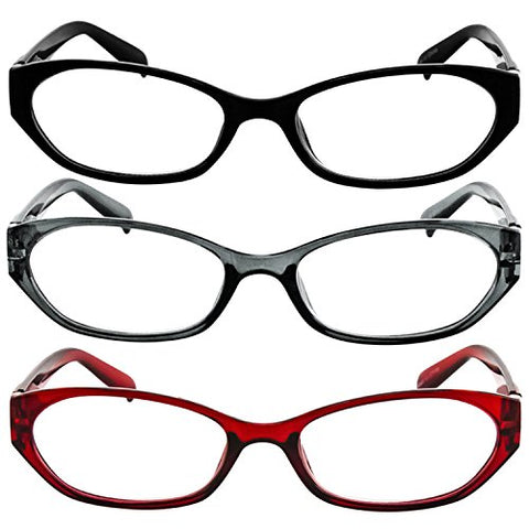 Reading Glasses  9502HP- 3 PK  Red Gray Black  2.50