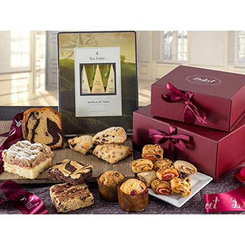 Dulcet Gift Baskets Herbal Tea and Biscuit Tower Sampler Gift Baskets Filled with Fresh Baked Scones, Scrumptious Crumb Cake & Flavored Muffins Best to Please a Crowd Gift Idea for Holidays, Birthday,