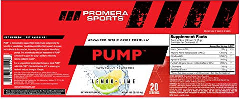 Promera Sports Pump Advanced Nitric Oxide Formula* - Lemon-Lime
