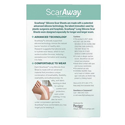 ScarAway Long Silicone Scar Treatment Sheets, Ideal for Larger and Longer Scars - 6 Multi-Use Adhesive Soft Fabric Strips, 1.5 x 7 Inches