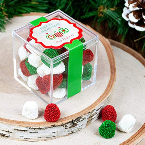 Personalized Christmas Ornaments JUST CANDY favor cube with Jelly Belly Gumdrops Candy