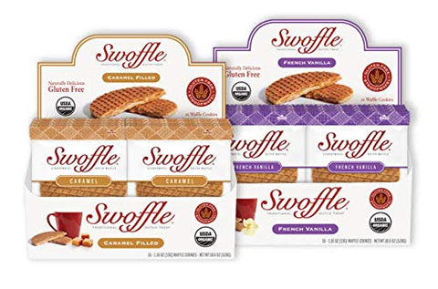 Swoffle Original Caramel & French Vanilla Bundle | Organic & Gluten Free Snack | Stroopwafel Waffle Cookie, 32 Count