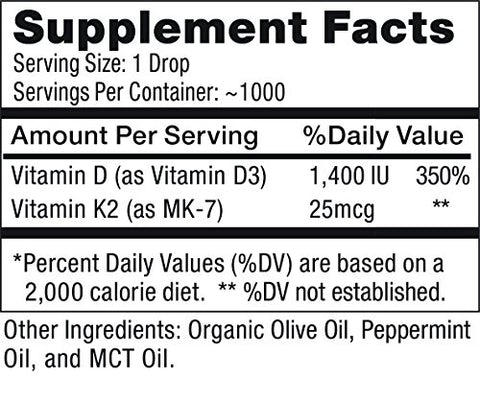 Max Absorption, Vitamin D3 + K2 (Mk 7) Liquid Drops With Mct Oil, Peppermint Flavor, Helps Support S