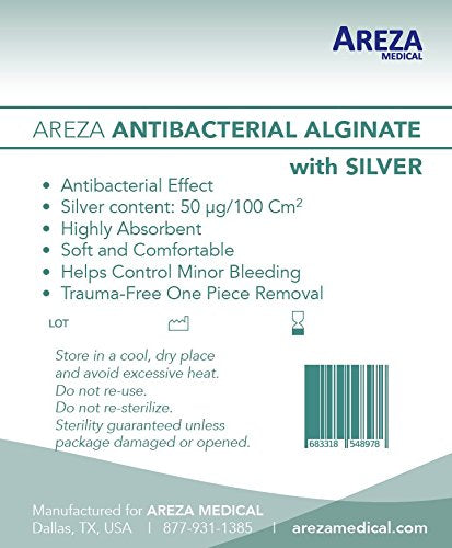 "Silver Alginate (Antibacterial Alginate with Silver) 4.25""x4.25"" Sterile; 5 Wound Dressings Per Box (1) (4.25"" X 4.25"") (1) Areza Medical"