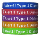 Image of Type 1 Diabetes Bracelets Silicone Medical Alert Wristbands (Pack of 5) Adult & Kids Sizes