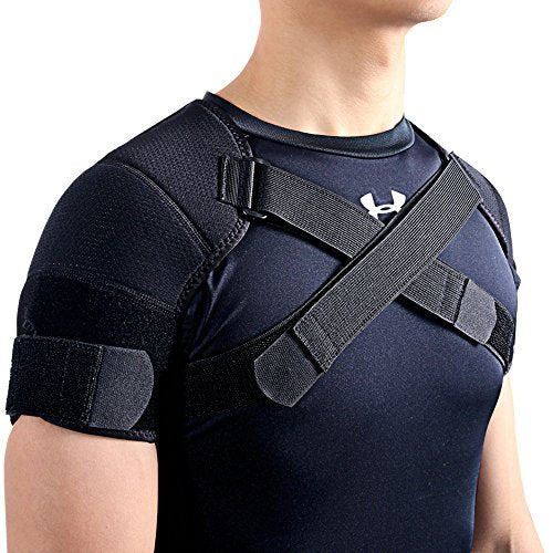 Kuangmi Double Shoulder Support Brace Strap Wrap Neoprene Protector (X-Large)