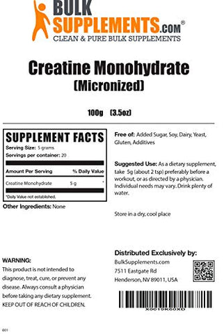 BulkSupplements.com Creatine Monohydrate (Micronized) - Vegan Preworkout - Muscle Building Supplements - Creatine Powder (100 Grams)
