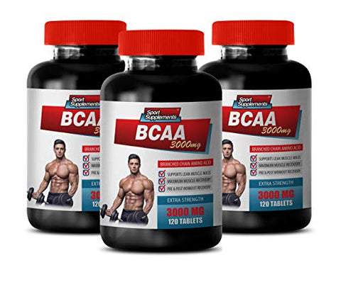 Muscle Growth Pills for Men - BCAA 3000MG - BRANCHED Chain Amino ACIDS - bcaa Muscle and Strength - 3 Bottles 360 Tablets