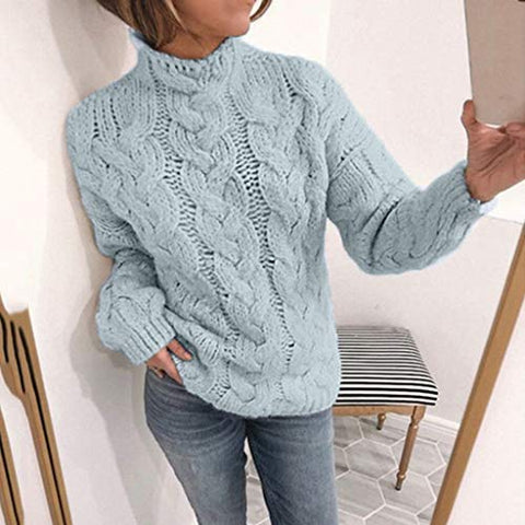 general3 Women Long Sleeve Knit Pullover Tops Fashion V-Neck Casual Striped Chunky Cable Knitted Slim Fit Sweater (Blue, Large)