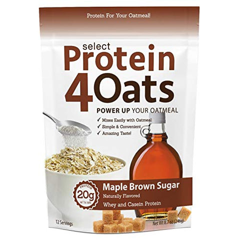 PEScience Select Protein4Oats, Maple and Brown Sugar, 12 Serving, Whey and Casein Blend for Oats and Oatmeal