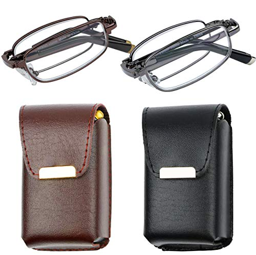 Reading Glasses Set of 2 Fashion Folding Readers with Leather Cases Brown and Gunmetal Glasses for Reading for Men and Women +3
