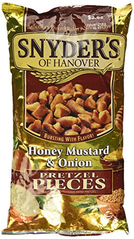Snyder's of Hanover, Honey Mustard & Onion Pretzel Pieces, 12oz Bag (Pack of 3)