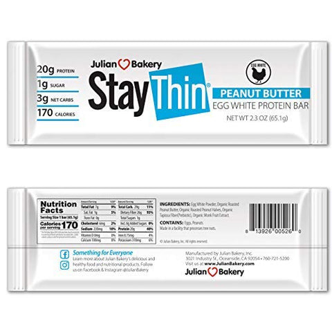 Julian Bakery Stay Thin Protein Bar | Peanut Butter Egg White | Certified Organic | Egg White | 20g Protein | 3 Net Carbs | 10 Bars