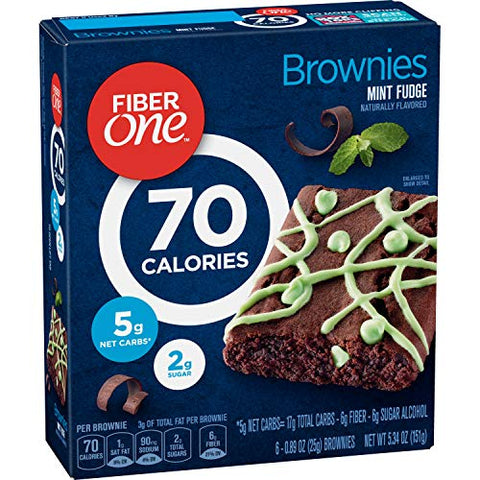 Fiber One Brownies, 70 Calorie Bar, 5 Net Carbs, Snacks, Mint Fudge, 6ct
