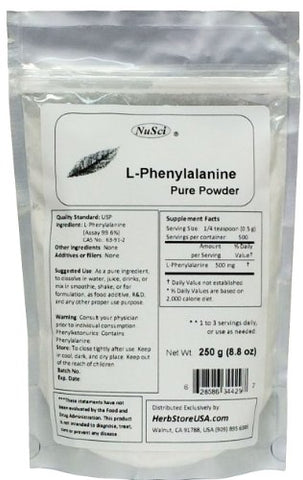 NuSci L-Phenylalanine Pure Powder 250g (8.8oz)