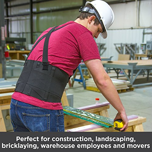 BraceAbility Industrial Work Back Brace | Removable Suspender Straps for Heavy Lifting Safety - Lower Back Pain Protection Belt for Men & Women in Construction, Moving and Warehouse Jobs (2XL)