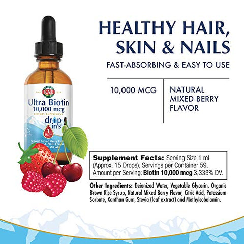 KAL Ultra Biotin DropIns 10,000 mcg Supplement | Healthy Hair Growth Formula | Skin Health and Strong Nails Support | Natural Mixed Berry Flavor | 2 ounces
