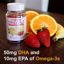 Image of Coromega Adult Omega 3 Fish Oil Gummies, 50mg DHA and 10 mg EPA of Omega-3s Fatty Acids, Dietary Supplement, Orange, Lemon, and Strawberry Banana Flavors, One Bottle, 60 Gummies per Bottle