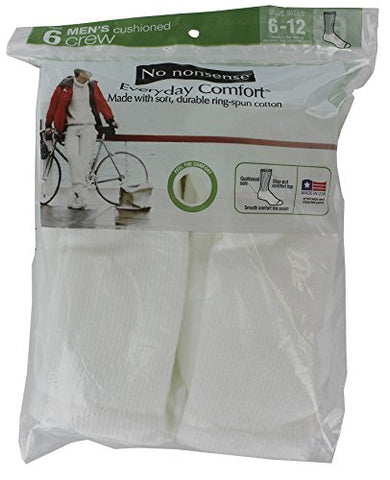 No Nonsense 2C12QG Men's White Crew Socks 6 Count