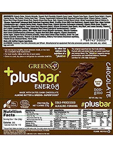 Greens+ Plusbar Energy Chocolate | Gluten Free Energy Bar | Organic Greens | Organic Dark Chocolate | Non GMO | 12 Bars