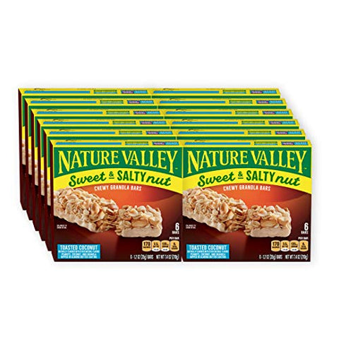 Nature Valley Granola Bars, Sweet and Salty Nut, Toasted Coconut, 7.4 Ounce (Pack of 12) - One Pack contains 6 Bars of 1.2 Ounce each