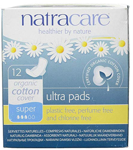 Natracare Natural Ultra Pads Super With Wings 12s (Pack of 3)