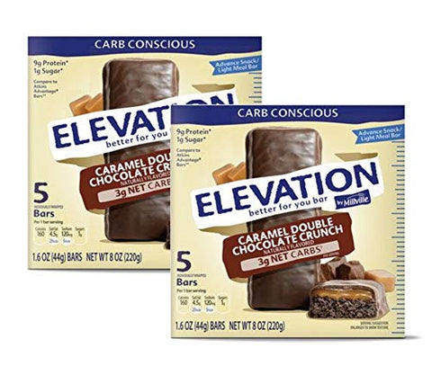 Millville Elevation Advanced Carb Conscious Better for You Caramel Double Chocolate Crunch Endulgent Bars - 2 Boxes