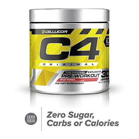 C4 Original Pre Workout Powder Fruit Punch Sugar Free Preworkout Energy Supplement for Men & Women 150mg Caffeine + Beta Alanine + Creatine 30 Servings