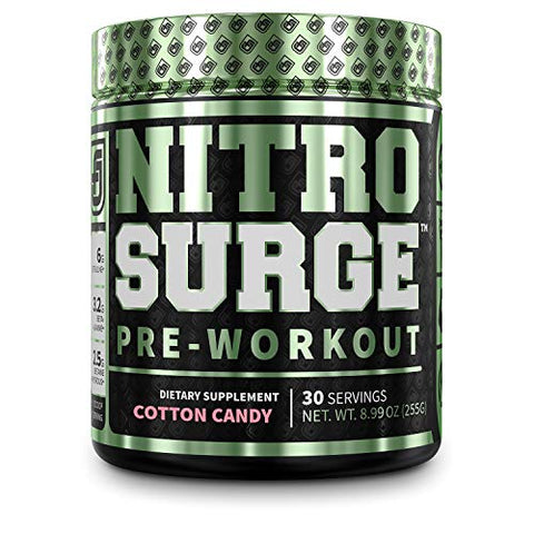 NITROSURGE Pre Workout Supplement - Endless Energy, Instant Strength Gains, Clear Focus, Intense Pumps - Nitric Oxide Booster & Powerful Preworkout Energy Powder - 30 Servings, Cotton Candy