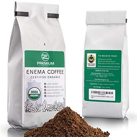 Premium Enema? Organic Enema Coffee (1LB) Light Roast, Medium Ground - Perfect For Gerson Coffee Enemas - Fair Trade Certified - Made in the USA