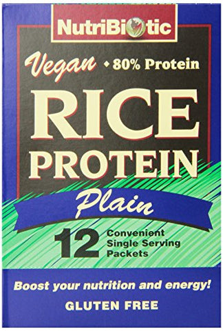 NutriBiotic Rice Protein Plain 12 single serving packets per box Low Carb Vegan Protein free of GMOs Gluten & preservatives Keto Friendly