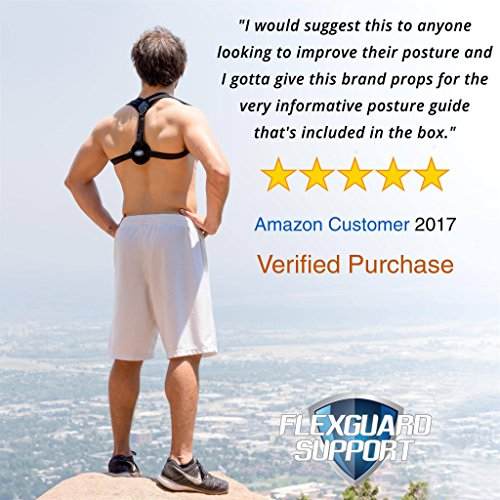 Posture Corrector for Women and Men - Best Fully Adjustable Upper Back Brace Trainer - Improves Slouching and Hunched Shoulders - for Maximum Support (Med/Large)