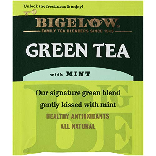 Bigelow Green Tea With Mint Tea Bags, 20 Count Box (Pack Of 6) Caffeinated Green Tea, 120 Tea Bags T