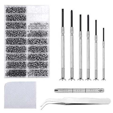 Krois Eyeglass Repair Kit Sunglasses Repair Kit with 6Pcs Precision Screwdriver Tool Set, 1000PCS Glasses Screw Kit and Tweezer for Sunglass,Spectacles,Watch and Other Small Electronics Repair
