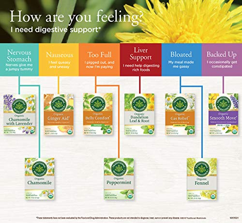 Traditional Medicinals Organic Dandelion Leaf & Root Herbal Tea, 16 Tea Bags (Pack Of 6)