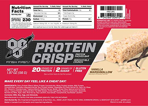 Bsn Protein Bars   Protein Crisp Bar By Syntha 6, Whey Protein, 20g Of Protein, Gluten Free, Low Sug