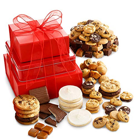 Mrs. Fields Cookies Traditional Crimson Cookie Tower (116 Count) Includes Nibblers Bite-Sized Cookies, Brownie Bites, Frosted Cookies, Caramel & More! The Perfect Gift for any Occasion, (Pack of 116)