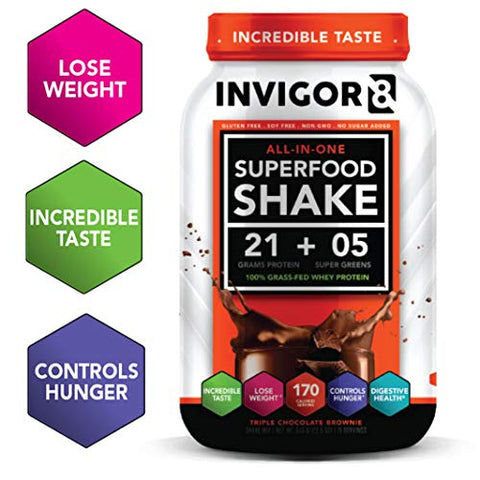 INVIGOR8 Superfood Shake (Chocolate Brownie) Gluten-Free and Non GMO Meal Replacement Grass-Fed Whey Protein Shake with Immunity Boosters and Omega 3 (645g)