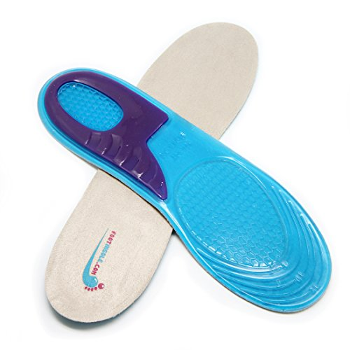 Foot Relief Soft Silicone Sports Gel Insoles, Massage for Work (L (8~13 US Men's))