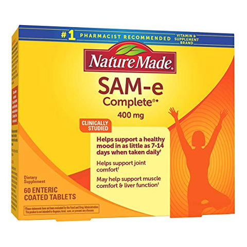 Evaxo SAM-e Complete 400 mg, 60 Tablets 400 mg. of SAM-e Per Dose Helps Support a Healthy Mood in as Little as 714 Days When Taken Daily .#B
