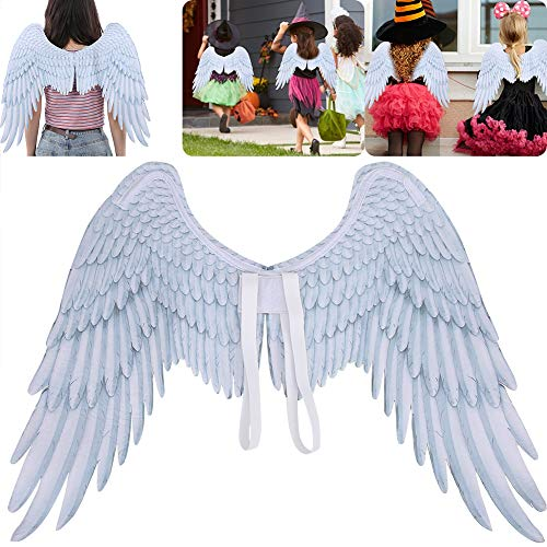 Wing Prop, Black White Angel Wings Feather Dress Up Props Halloween Mardi Gras Party Cosplay Costume for Adult and Children (White)