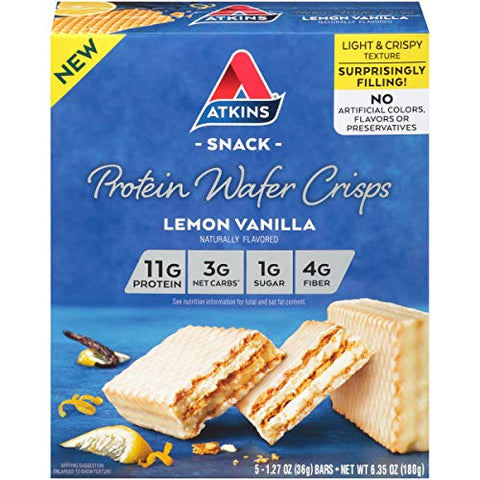 Atkins Protein Wafer Crisps, Lemon Vanilla, Keto Friendly, 5 Count 3-Pack